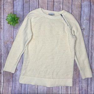 Loft Open Knit Cream Sweater Sz L